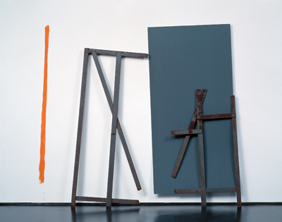"Meuser, Ohne Titel (Untitled), 1980, steel, plastic, paint, and lead, 86 9/16 x 94 7/16 x 11 3/4""."