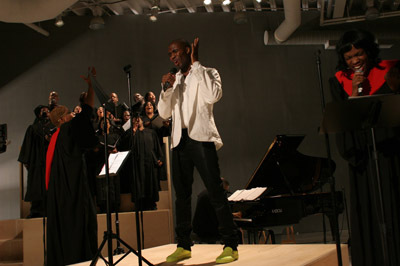 Adam Pendleton, The Revival, 2007. Performance view, Stephan Weiss Studio, New York, 2007. Photo: Paula Court.