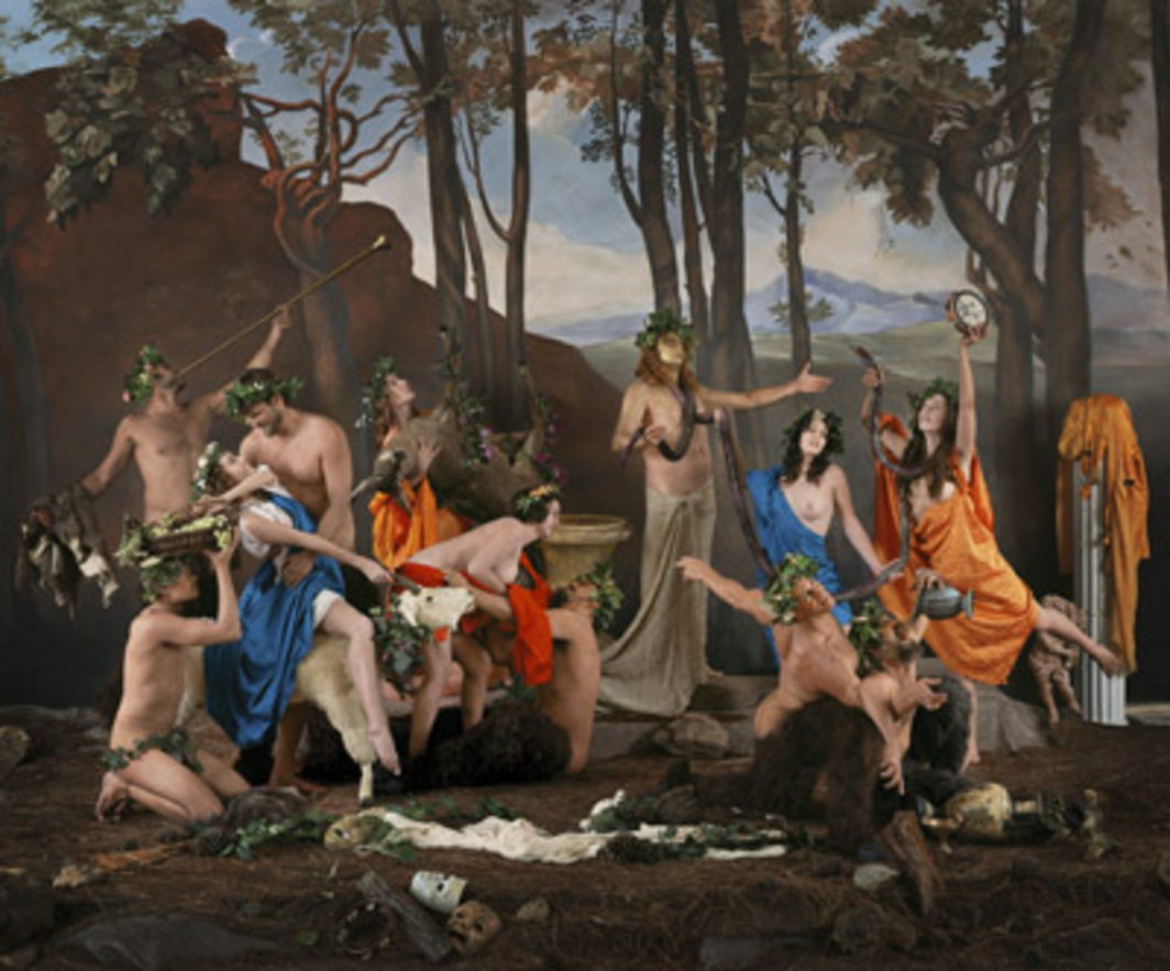 "Eleanor Antin, The Triumph of Pan (after Poussin), 2004, color print, 60 1/2 x 72 1/2 x 2""."