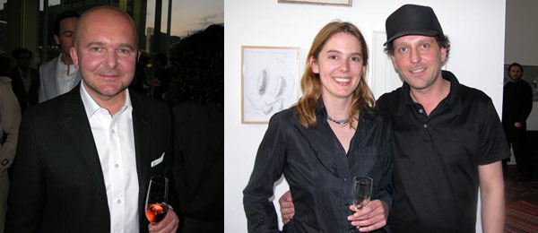Left: Collector Christian Boros. Right: Artist Katja Barth with dealer Guido W. Baudach.