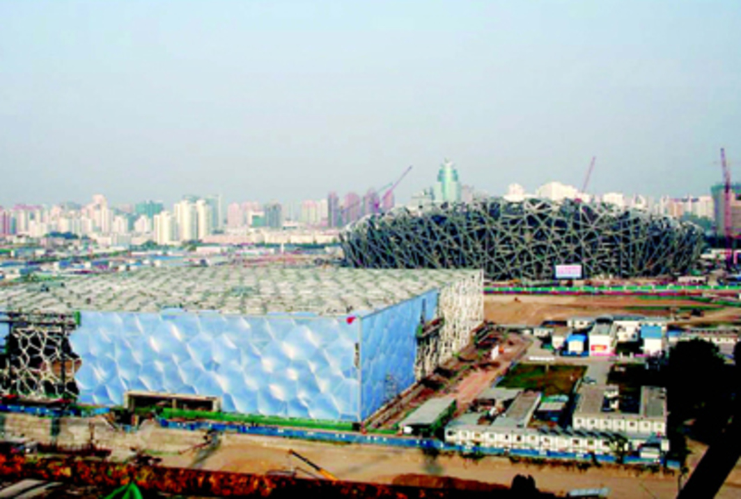 The National Aquatics Center and the National Stadium under construction, Beijing, September 17, 2007. Photo: Vector Foiltec.