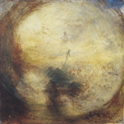 "J. M. W. Turner, Light and Colour (Goethe's Theory)—The Morning After the Deluge—Moses Writing the Book of Genesis, 1843, oil on canvas, 30 7/8 x 30 7/8""."