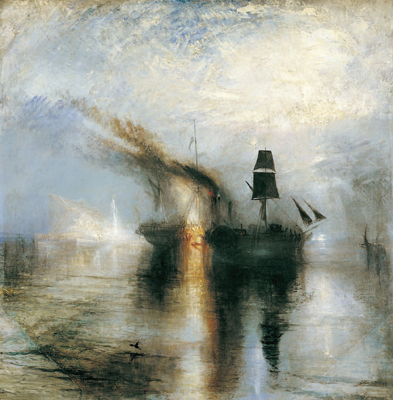"J. M. W. Turner, Peace—Burial at Sea, 1842, oil on canvas, 34 1/4 x 34 1/8""."