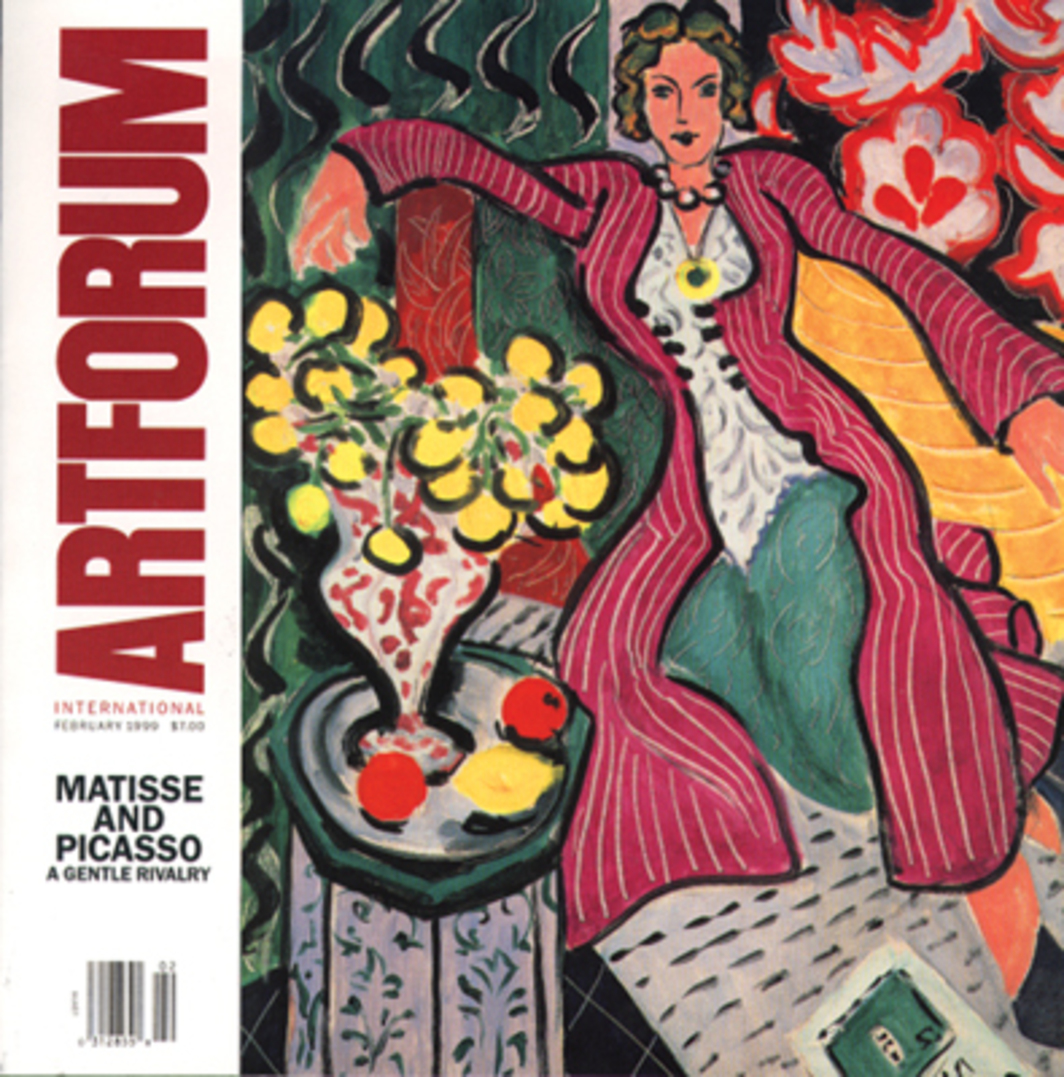 "The cover of your copy of Artforum tells only half the story. On the occasion of Yve-Alain Bois's conversation with Linda Nochlin (p.70), alternate cover images grace our February issue. Some editions feature Henri Matisse, A Woman in a Purple Coat with Ranunculi, 1937, oil on canvas, 31 7/8 x 25 11/16"", © 1999 Succession Matisse/Artist Rights Society (ARS), New York; others picture Pablo Picasso, Woman Seated in a Garden, 1938, oil on canvas, 51 1/2 x 38 1/4"". © 1999 Estate of Pablo Picasso/Artists Rights Society (ARS), New York."