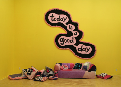 Today Is a Good Day, 2008, fabric, thread, paper, and acrylic foam, 12' x 8' x 8'.
