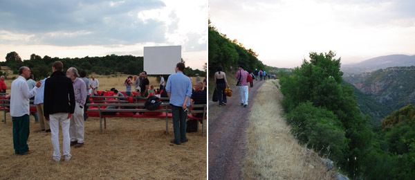 Left: Robert Beavers (at far left) and guests at Temenos. Right: The guests walking to the site of the screening. (Photos: Michael Wang)