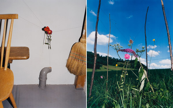 "Left: Collier Schorr, Untitled, 2006, C-print, 38 3/4 x 31"". Right: Collier Schorr, Arrangement #8 (Blumen), 2008, C-print, 39 x 31 1/4""."