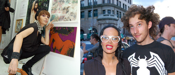 Left: Nightlife promoter Sophia Lamar. Right: Artist Kembra Pfahler with a friend.