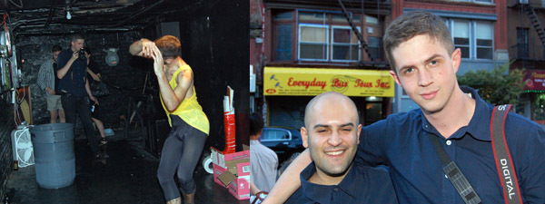 Left: A dancing boy. Right: Dominic Sidhu with photographer Scott Meriam.