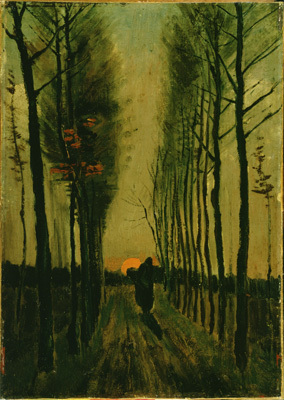 "Vincent van Gogh, Lane of Poplars at Sunset, 1884, oil on canvas, 18 1/16 x 12 11/16""."