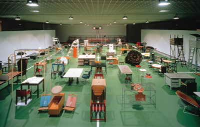 "Martin Kippenberger, The Happy End of Franz Kafka's ""Amerika,"", 1994, mixed media. Installation view, Museum Boijmans Van Beuningen, Rotterdam."