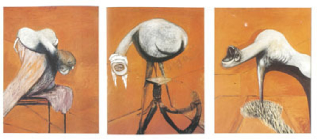 "Francis Bacon, Three Studies for Figures at the Base of a Crucifixion, ca. 1944, triptych, oil on board, each 37 x 29""."