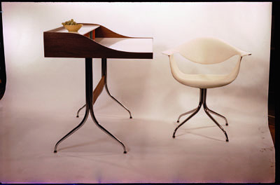 George Nelson, Swaged Leg Chair, 1954, and Swaged Leg Desk, 1958.