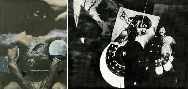 Left: An untitled collage from See Saw Seems, 1965, black-and-white film in 16 mm, 8 min. Right: Stan VanDerBeek in his Movie-Drome, 1963–65. Photo: R. Raderman.