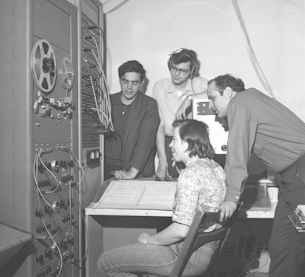 Ramon Sender, Michael Callahan, Morton Subotnick, and Pauline Oliveros (seated), San Francisco Tape Music Center, March 29, 1964. Photo: Art Frisch.