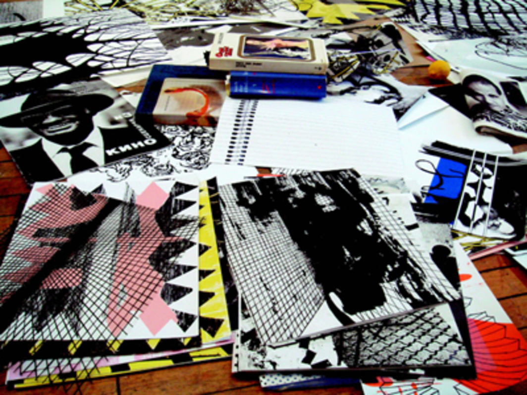 Interior of Charline von Heyl's studio, New York, 2008. Photo: Charline von Heyl.