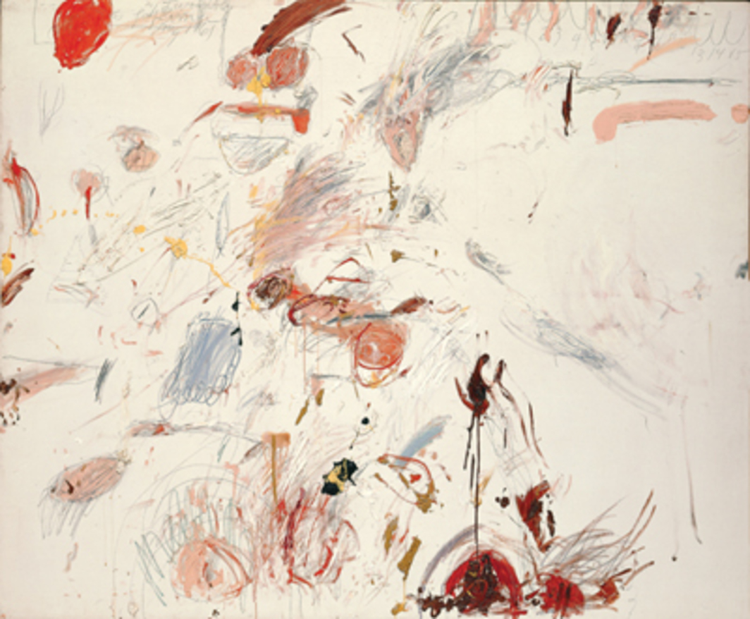 "Cy Twombly, Ferragosto I, 1961, oil paint, wax crayon, and lead pencil on canvas, 65 3⁄8 x 79 3⁄8""."