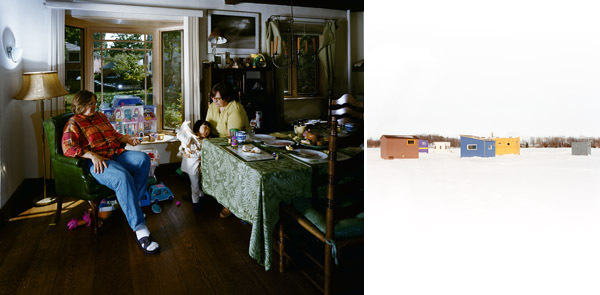 "Left: Catherine Opie, Joanne, Betsy & Olivia, Bayside, New York, 1998, chromogenic print, 40 x 50"". Right: Catherine Opie, Untitled #1 (Icehouses), 2001, chromogenic print, 50 x 40""."