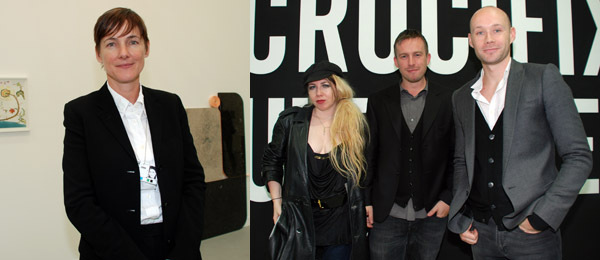 Left: Dealer Sadie Coles. Right: Irish Annie, dealer Stuart Shave, and Modern Art's Kirk McInroy.