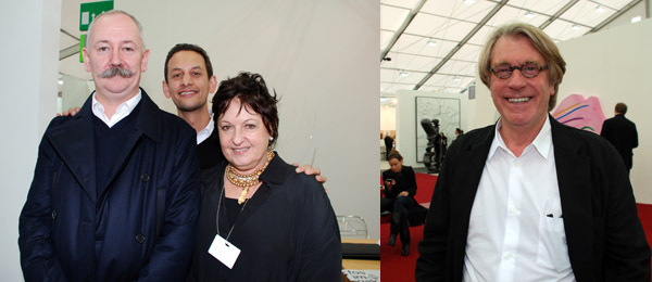 Left: Artist Cerith Wyn Evans, CCA Wattis director Jens Hoffmann, and dealer Luisa Strina. Right: Collector Frank Cohen.