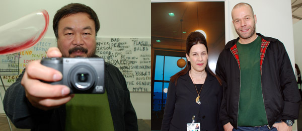 Left: Artist Ai Weiwei. Right: Dealer Maureen Paley and artist Wolfgang Tillmans.