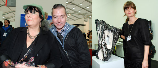 Left: Suzi Lang and artist Donald Urquhart. Right: Dealer Kate MacGarry.