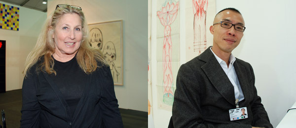 Left: Collector Jane Holzer. Right: Long March Gallery's Lu Jie.