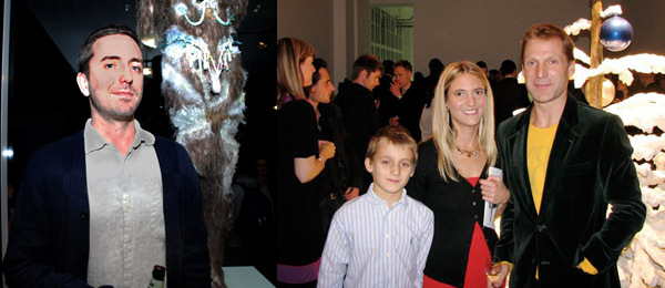 Left: Artist David Altmejd. (Photo: Ryan McNamara) Right: Pilar Corrias and Adam Prideux with son. (Photo: Lynne Gentle)