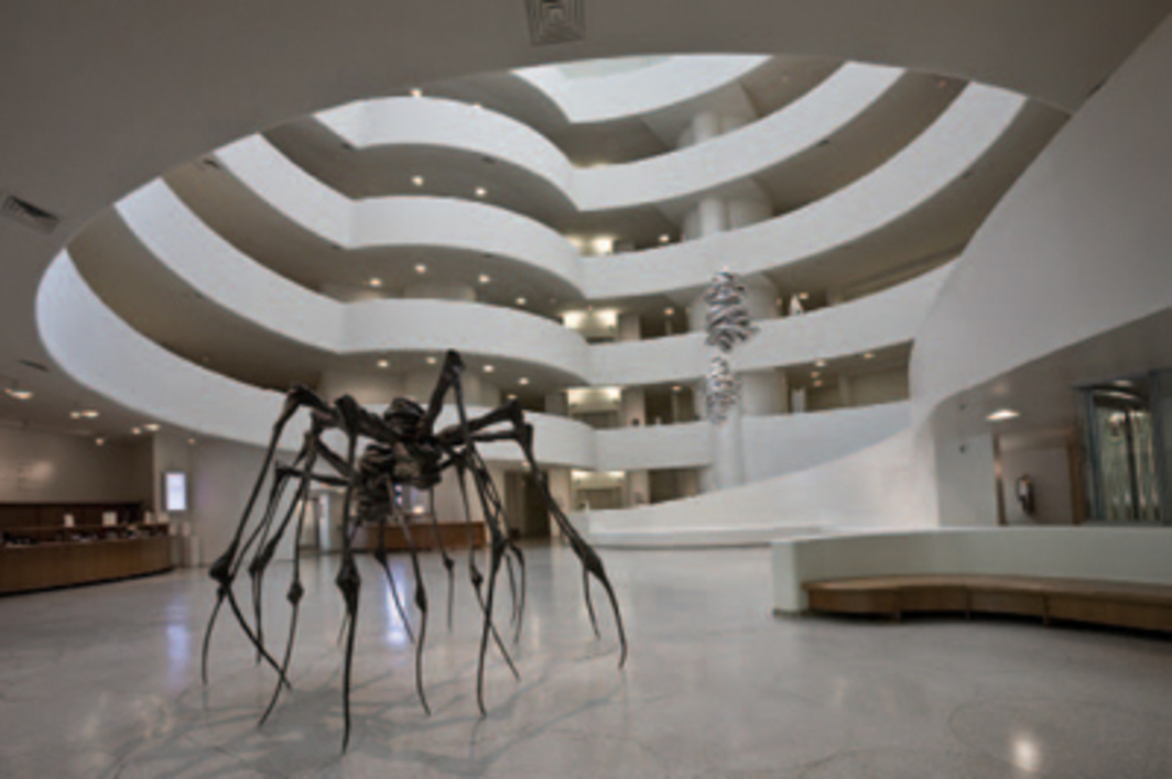 "View of ""Louise Bourgeois,"" 2008, Solomon R. Guggenheim Museum, New York. Foreground: Spider Couple, 2003; Untitled, 2004; Untitled, 2004."