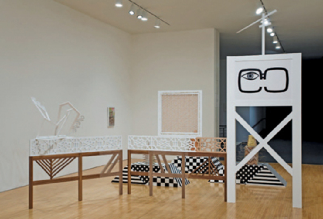 "View of ""Lisa Lapinski: The Fret and Its Variants,"" 2008, Museum of Contemporary Art, Los Angeles. Foreground: Monty Python Precedes Dungeons and Dragons, 2008."