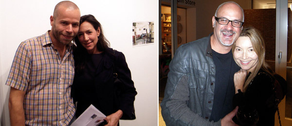 Left: Artist Wolfgang Tillmans with dealer Shaun Caley Regen. Right: Dennis Szakacs, director of the Orange County Museum of Art, with patron Moira Kamgar. (All photos: Andrew Berardini)