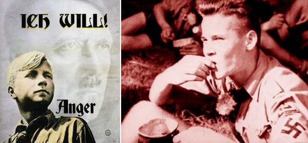 Left: Kenneth Anger, publicity poster for Ich Will!, 2008. Right: Kenneth Anger, Ich Will!, 2008, still from a black-and-white and color video, 35 minutes.