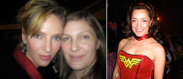 Left: Uma Thurman and Taya Thurman. Right: Collector Dianne Ackerman.