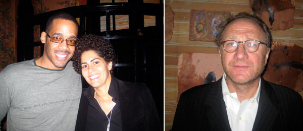 Left: The Projects's Christian Hayes with artist Julie Mehretu. Right: Artist Peter Nadin.