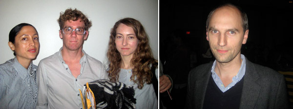 Left: Dealer Lisa Overduin, artist Stephen Rhodes, and dealer Kristina Kite. Right: Christian Rattemeyer, MoMA curator of prints and drawings.