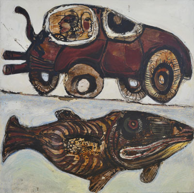 "Nick Lawrence, Fish and Jalopy, 1998, oil and mixed media on canvas, 48 x 48""."