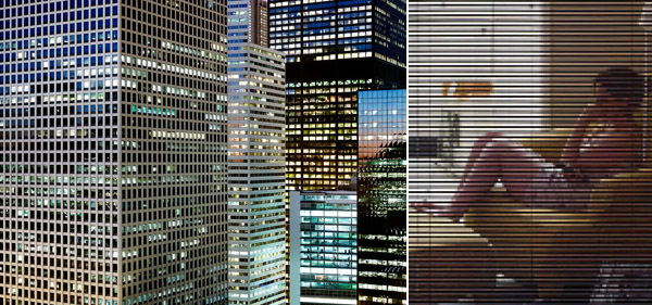 "Left: Michael Wolf, Untitled, 2007, color photograph, 40 x 53 7/16"". Right: Michael Wolf, Untitled, 2007, color photograph, 20 x 25"". (Both works from the series ""Transparent City."")"