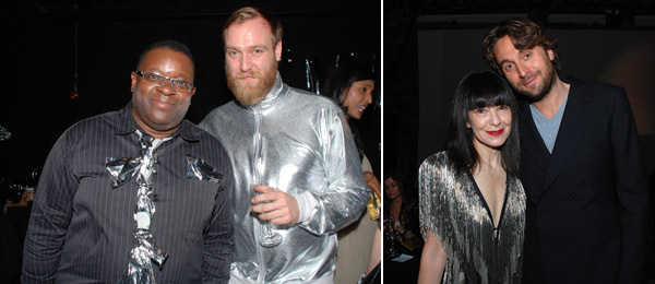 Left: Artists Isaac Julien and Jesper Just. Right: Performa founder RoseLee Goldberg with artist Francesco Vezzoli. (All photos: Ryan McNamara)