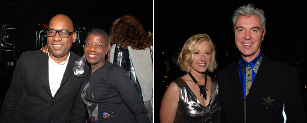 Left: Artist Glenn Ligon with Studio Museum director Thelma Golden. Right: Artist Cindy Sherman with musician David Byrne.