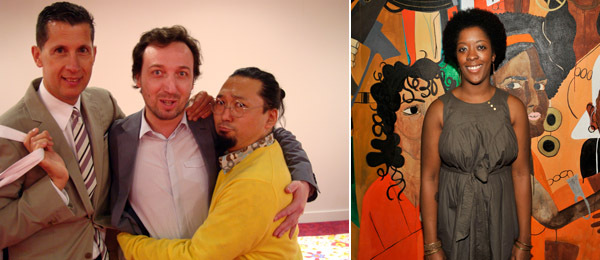 Left: T magazine editor Stefano Tonchi with dealer Emmanuel Perrotin and artist Takashi Murakami. (Photo: Nicolas Trembley) Right: Artist Nina Chanel Abney. (Photo: Patrick McMullan)