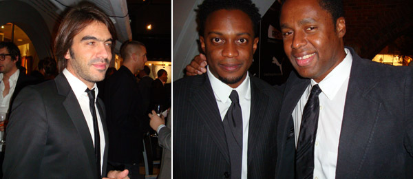 Left: French Vogue Hommes editor Olivier Lalanne. Right: Artist Hank Willis Thomas with Trace editor Claude Grunitzky. (Photos: Nicolas Trembley)