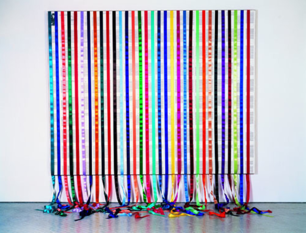 "Tim Rollins and K.O.S., Incidents in the Life of a Slave Girl, 1998, satin ribbons and book pages on linen, 84 x 108""."
