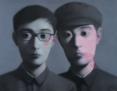 "Zhang Xiaogang, Comrade, 2006, oil on canvas, 78 3/4 x 102 3/8""."