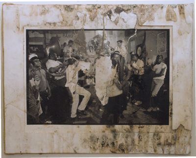 "Chandra McCormick, Jammin' at the Shop in Treme, 1986, black-and-white photograph, 23 x 29"". From ""Gone,"" L9 Center for the Arts, New Orleans, 2008."