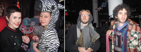 Left: Shannon Stubbs and Erica Mahinay. Right: Daniel Pinchbeck and Eli Mishulovin.
