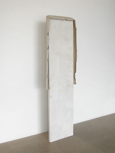 "Gedi Sibony, Partly Me Manners, 2008, door, paper, 88 x 24 x 4""."