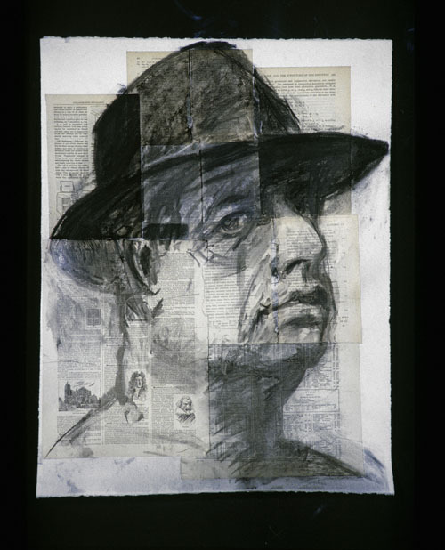 "William Kentridge, Self-portrait (Testing the Library), 1998, charcoal on paper, 26 x 20""."