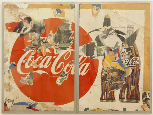 "Wolf Vostell, Coca Cola, 1961, décollage on paper and Masonite, 82 1/2 x 122""."