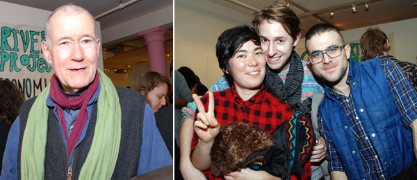 Left: Artist Geoffrey Hendricks. Right: Artists Ginger Brooks Takahashi, Travis Boyer, and Jacob Robichaux.