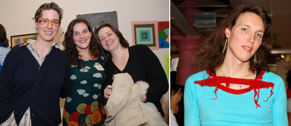 Left: Artist Ulrike Müller with Dia's Kristin Poor and Barbara Schroeder. Right: Artist Tuesday Smillie.